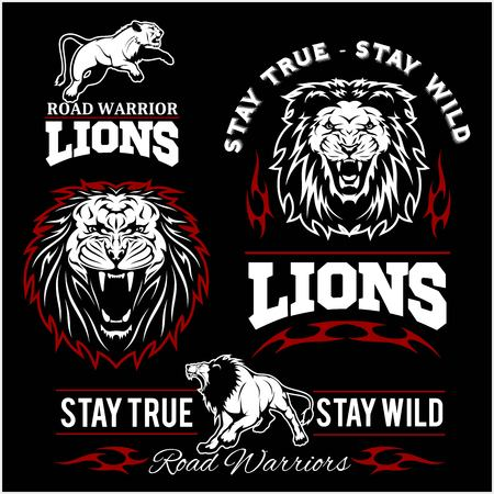Lions custom motors club t-shirt vector icon on dark background. Wild animals - vector set.