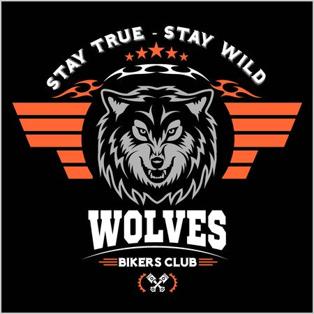 Wolf biker and wings on dark background - vector illustration