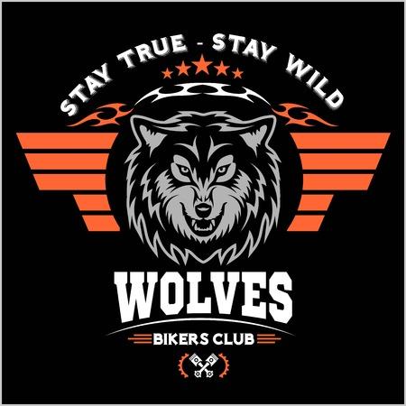 wolf head for logo, american symbol, simple illustration, sport team emblem, design elements for tshirts