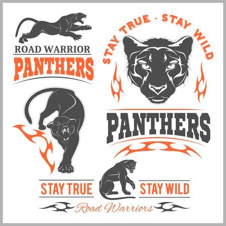 Black panther head. Mockup template animal symbol, , emblem or sticker for branding, printing, sports team. Vector illustration on white background.