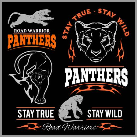 Panther Sport t-shirt graphics, Vintage Apparel typography, Artwork stamp print design, wild big cat head. Aggressive predator with bared teeth in cartoon style