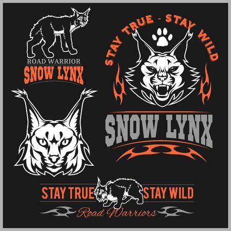 Vector lynx head, face for retro logos, emblems, badges, labels template and t-shirt vintage design element on black background.