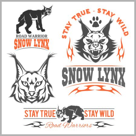 Vector lynx head, face for retro logos, emblems, badges, labels template and t-shirt vintage design element on white background. Illustration
