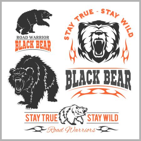 Black bear for logo, sport team emblem, design elements and labels on white background