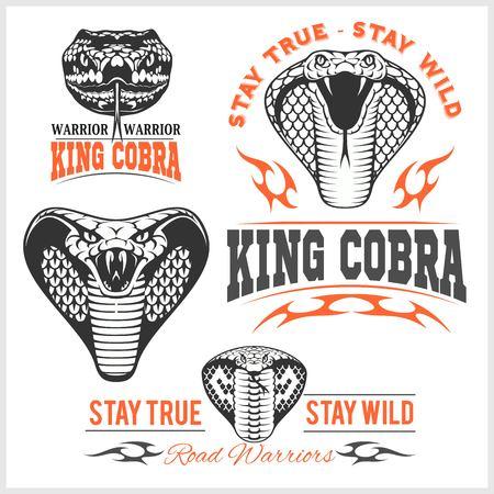 Biker patches - King cobra - vector set. Mascot template design