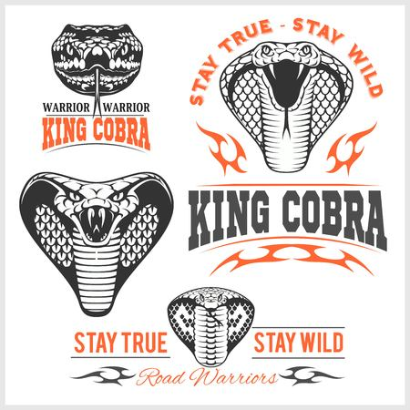 Biker patches - King cobra - vector set. Mascot template design
