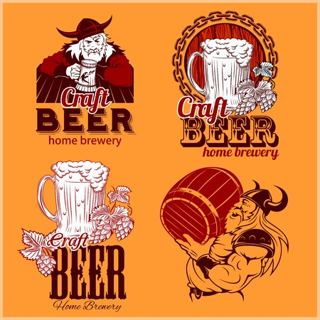 Set craft beer and vikings templates on an orange background