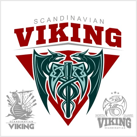 Set of viking emblems, labels and logos. Monochrome style - vector illustration on white background Vettoriali