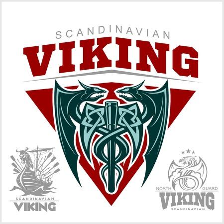 Set of viking emblems, labels and logos. Monochrome style - vector illustration on white background Stock Illustratie