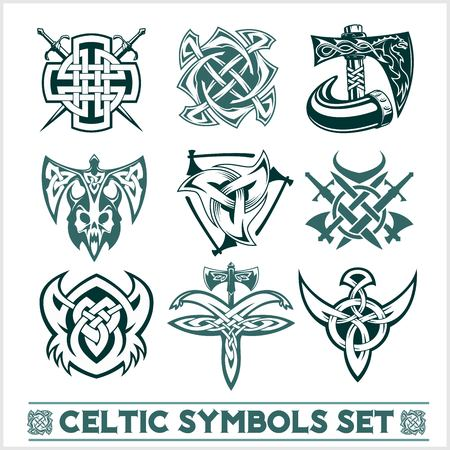 Set of Celtic symbols icons vector. Tattoo design set on white background. Illusztráció