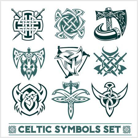 Set of Celtic symbols icons vector. Tattoo design set on white background. Stock Illustratie