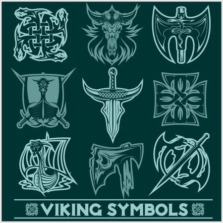 Ensemble d & # 39 ; icônes viking symboles vecteur Banque d'images - 98439387