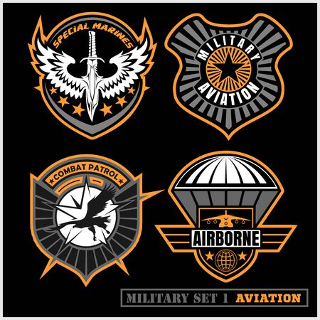 Set of military and army badge and patches typography, for t shirt and other uses.