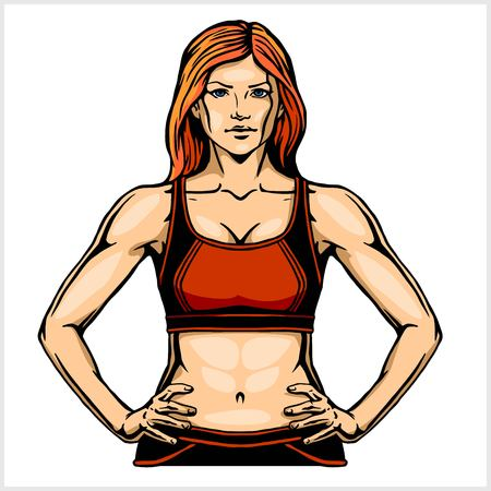 Illustration of a muscular woman with hands on hips