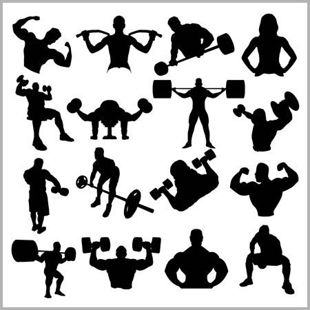 Silhouettes of Bodybuilders - Gym Vector Icon Set.