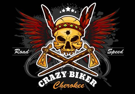 American Indian skull motorcycle graphic design.