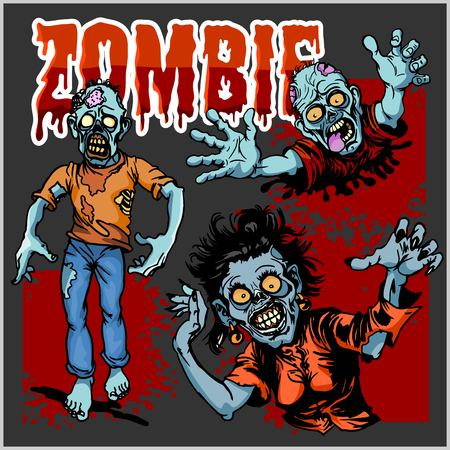 Zombie Comic Set Cartoon vector illustration can be used for tattoo, sticker or any design. Illustration
