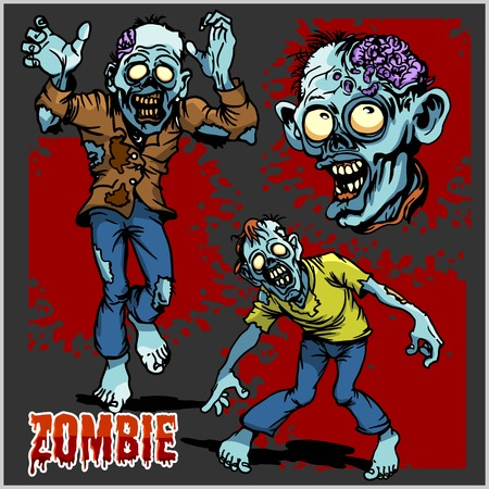 Zombie Comic Set - Cartoon zombie. Set of color drawings of zombies on dark background. Illustration