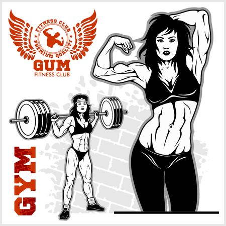 Sexy girl in sportswear. Fitness lifestyle. Vector illustration on white