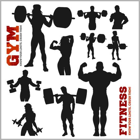 Silhouettes of Bodybuilders - Gym Vector Icon Set illustration.