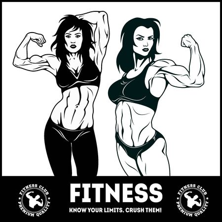 Womans fitness showing muscles - Female Fitness Illustration