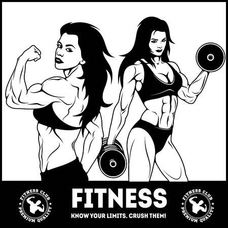 Womans fitness showing muscles - Female Fitness Vettoriali