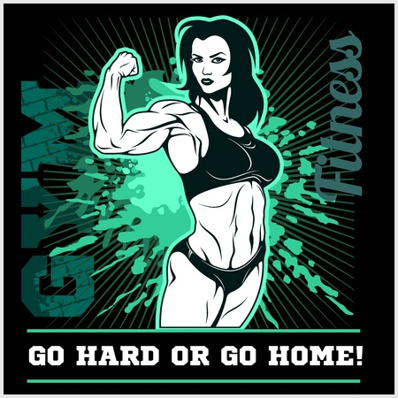Girl Power. The Factory Girl with biceps. Woman Fitness Illustration