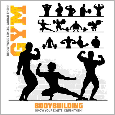 Silhouettes of Bodybuilders - Gym Vector Icon Set