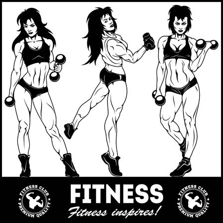 Girls with dumbbells - beautiful fitness girls doing exercises with dumbbels, vector set Illustration