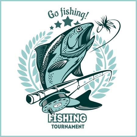 Trout fishing - logo illustration. Fishing emblem
