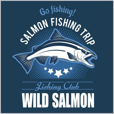 Vintage Salmon Fishing emblem, label and design elements. Vector illustration. Vektorové ilustrace