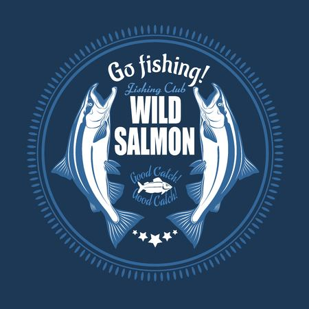 Salmon fish. Vintage Salmon Fishing emblems, labels and design elements.