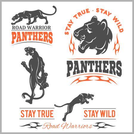 Black panther head. Mockup template animal symbol, logo, emblem or sticker for branding, printing, sports team. Illustration
