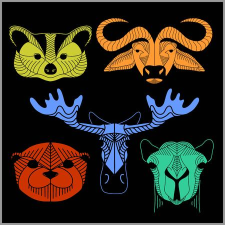 Set of polygonal animals. Polygonal logos. Geometric set of wolf, fox, jaguar, lion.