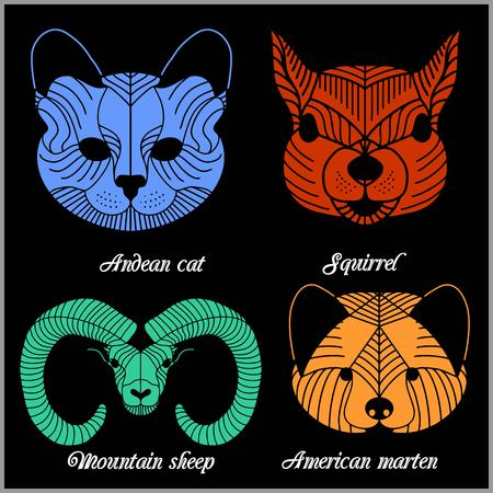 Set of polygonal animals. Polygonal . Geometric set of mountain sheep, Andean cat, squirrel, American marten isolated on black background.