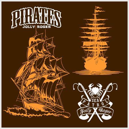 Sea emblem - pirate ship and jolly roger Stockfoto - 105230238