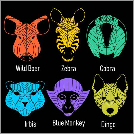 Set of polygonal head animals. Polygonal logos. Geometric set of Irbis, Zebra, Cobra, Wild Boar, Blue Monkey, Dingo Illustration