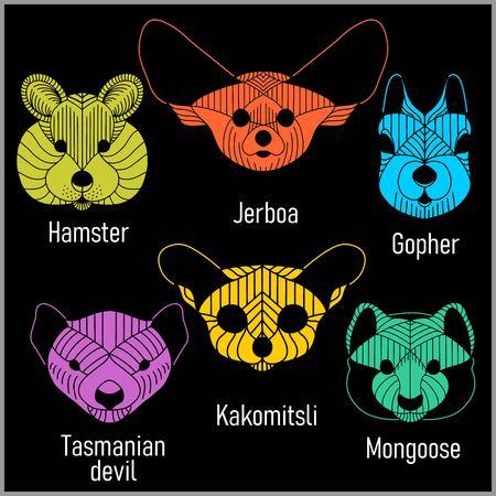 Set of polygonal head animals. Polygonal logos. Geometric set of Hamster, Jerboa, Gopher, Tasmanian devil, Kakomitsli, Mongoose