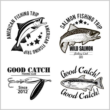 Vintage Salmon Fishing emblem, label and design elements. Vector illustration.