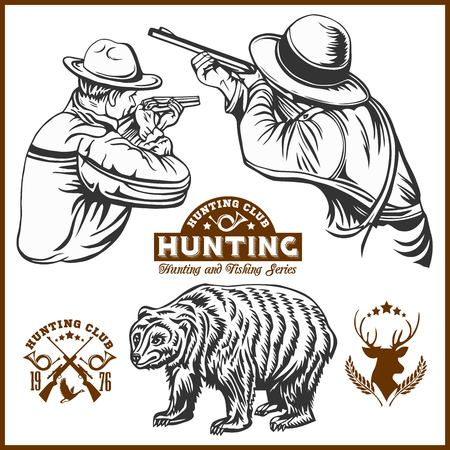 Hunters and bear - vector isolated illustration plus hunters club