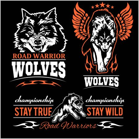 Wolves Patch - vector badges on black background