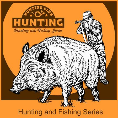 black and white engrave isolated pig vector illustration plus hunting emblem