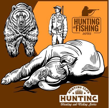 Hunters and bear. hunters club logo Illustration