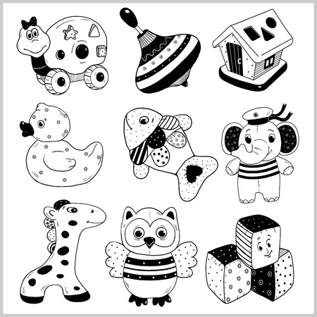 Kids toys cartoon vector icons collection. Vector Illustration