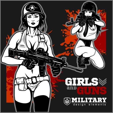 Beautiful woman holding a gun Illustration