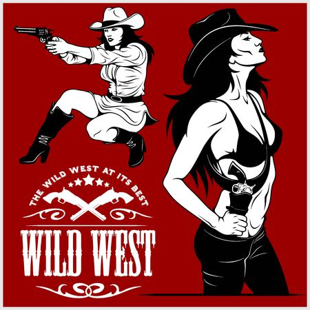 Sexy Cowgirls with revolver Illustration