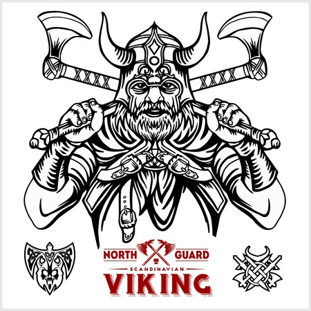 Viking warrior with big crossed axes - vector monochrome illustration Ilustrace
