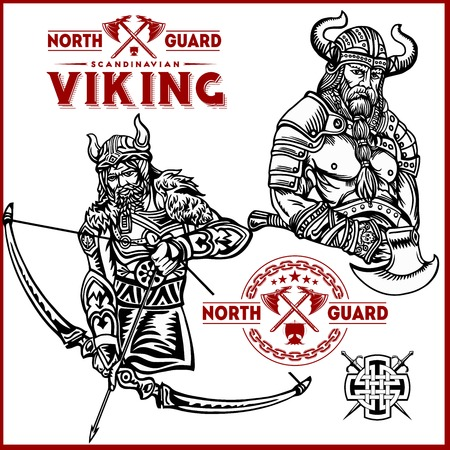 Viking warrior with big sword Ilustrace