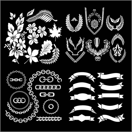 foliage and chains, ribbons, emblems and wreaths - vector illustration set
