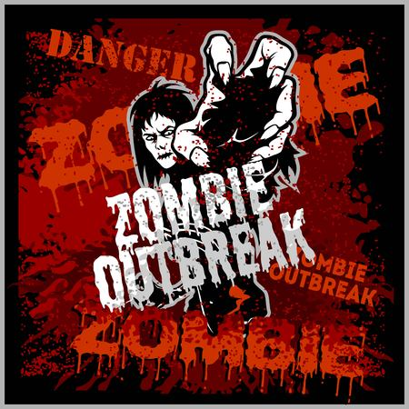 Poster Zombie Outbreak. Sign board with zombie - Grunge zombie outbreak vector illustration